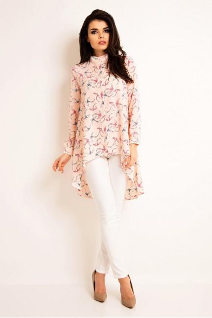 Wyjątkowa koszula damska z długim rękawem - różowa