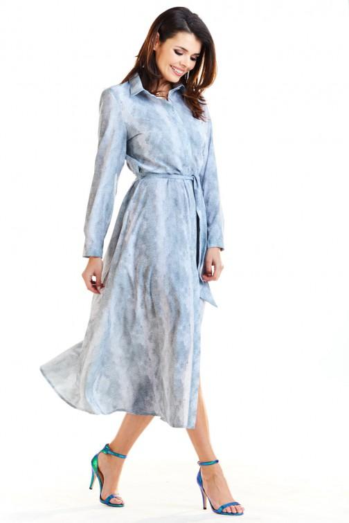 CM4173 Trapezowa sukienka maxi z rozcięciem - szara