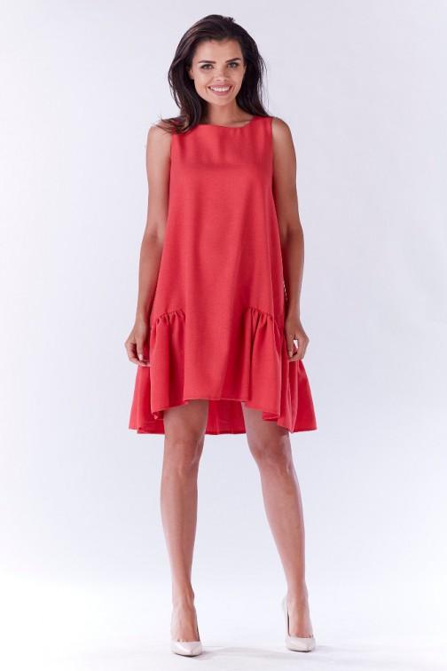 CM3205 Efektowna sukienka z falbaną - różowa