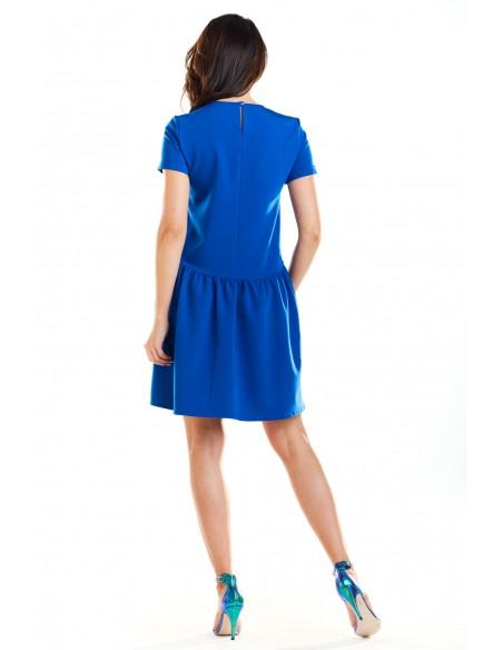 Sukienka mini z odcięciem w talii - niebieska