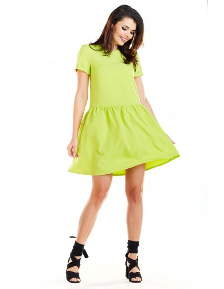 Sukienka mini z odcięciem w talii - limonkowa