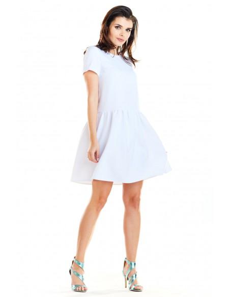 Sukienka mini z odcięciem w talii - biała