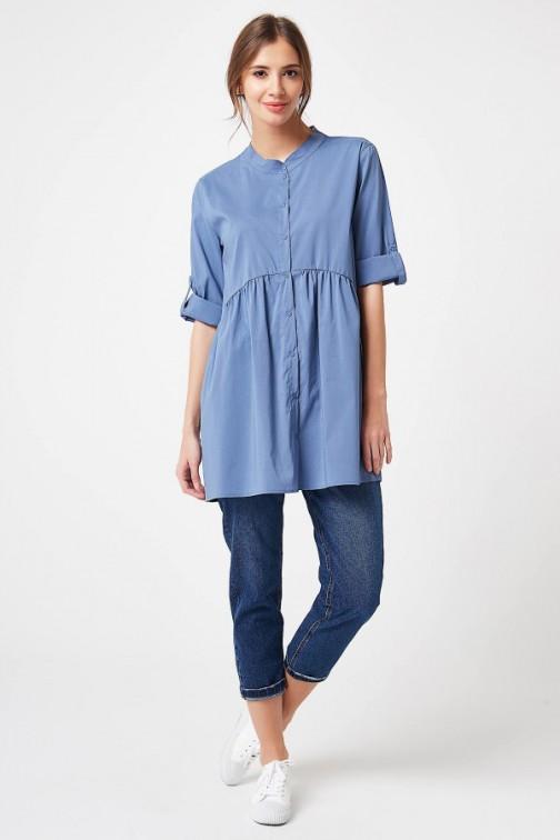CM4195 Koszula z podpinanymi rękawami - jeansowa