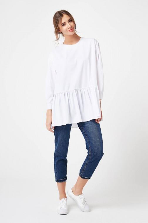 CM4196 Bluza oversize zapinana z tyłu - biała