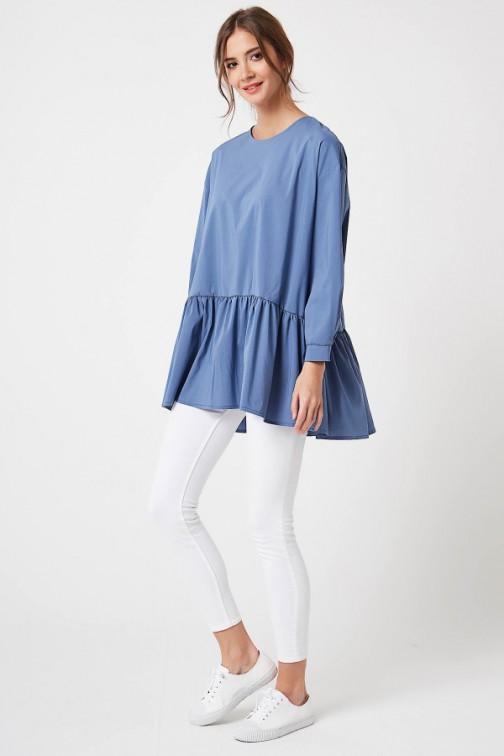 CM4196 Bluza oversize zapinana z tyłu - jeansowa