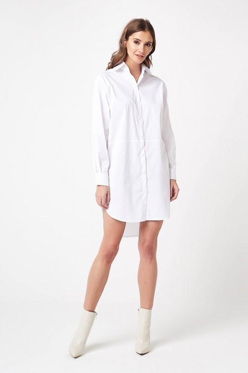 CM4204 Koszulowa sukienka mini - biała