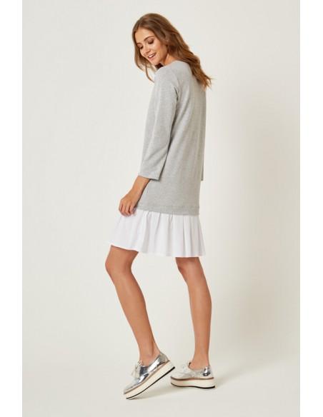 Dresowa sukienka z falbanką - szara