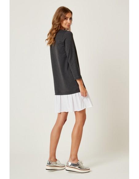 Dresowa sukienka z falbanką - antracytowa