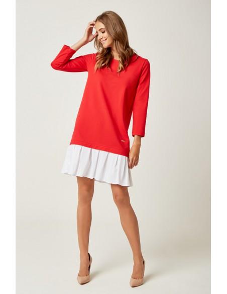 Dresowa sukienka z falbanką - czerwona