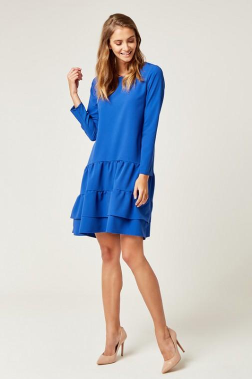 CM4240 Rozkloszowana sukienka z podwójną falbanką - chabrowa