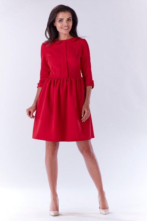 CM3212 Nowoczesna sukienka z uroczym kołnierzykiem - czerwona