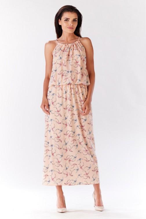 CM3213 Długa sukienka z wiązaniem na plecach - różowa