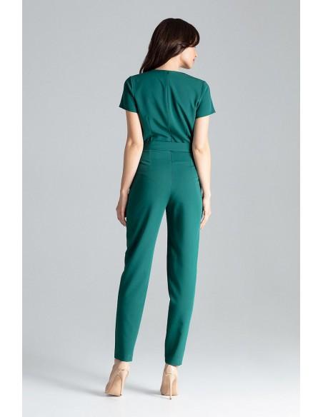 Kopertowy kombinezon z krótkim rękawem - zielony
