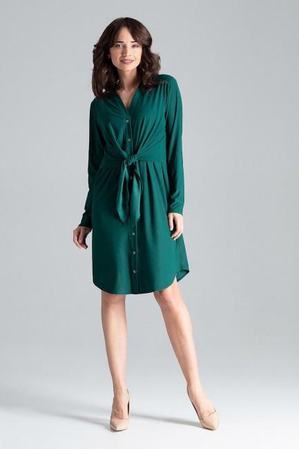 Sukienka koszulowa z wiązaniem w pasie - zielona
