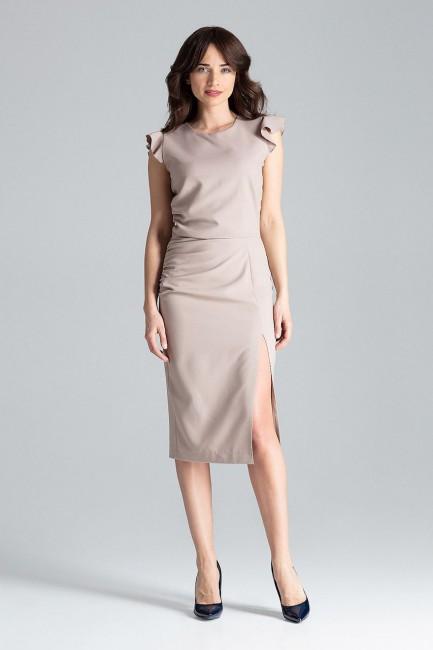 Koktajlowa sukienka z rozcięciem - beżowa