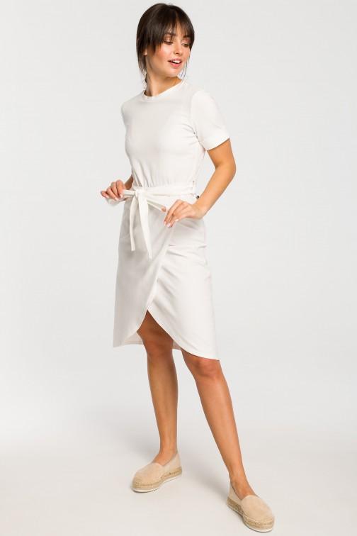 CM4266 Sukienka z zakładką - ecru