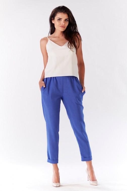 CM3215 Stylowe spodnie damskie z kieszeniami - niebieskie