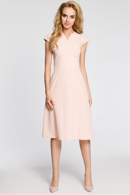 Sukienka z szerokim paskiem - pudrowa