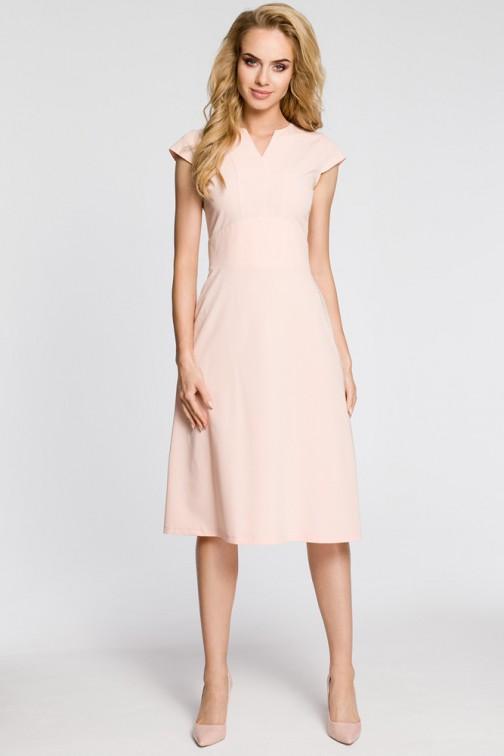 CM3043 Sukienka z szerokim paskiem - pudrowa