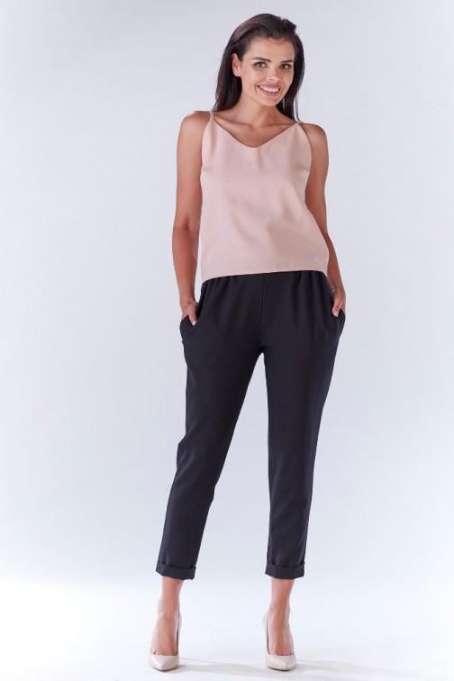 CM3215 Stylowe spodnie damskie z kieszeniami - czarne