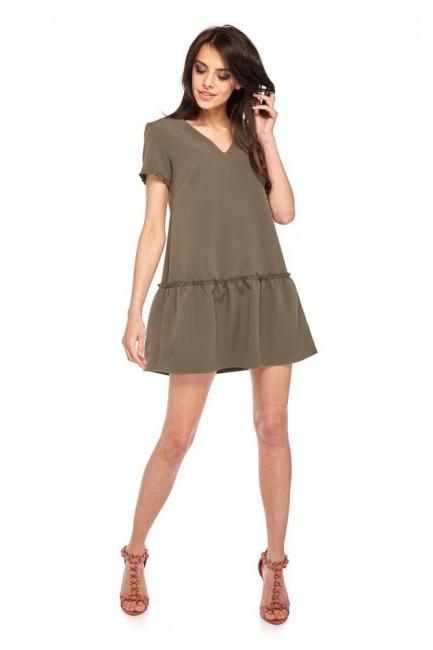 Klasyczna sukienka z krótkim rękawem - khaki