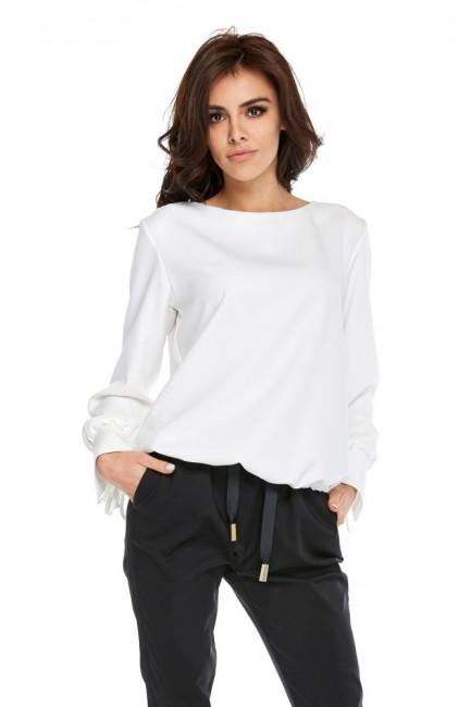 Prosta bluzka z długim rękawem - biała
