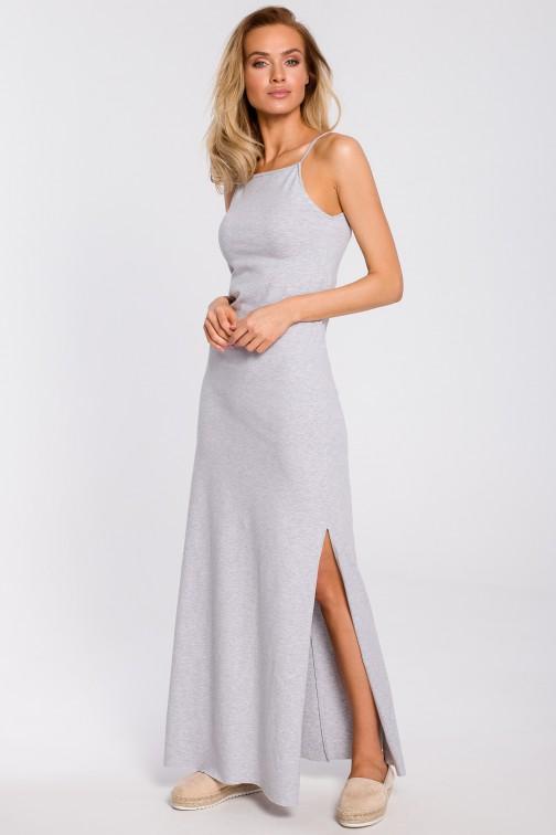 CM4310 Bawełniana sukienka maxi na ramiączkach - szara