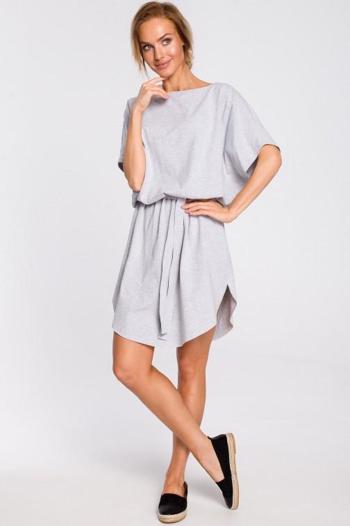 CM4311 Bawełniana sukienka mini z paskiem - szara