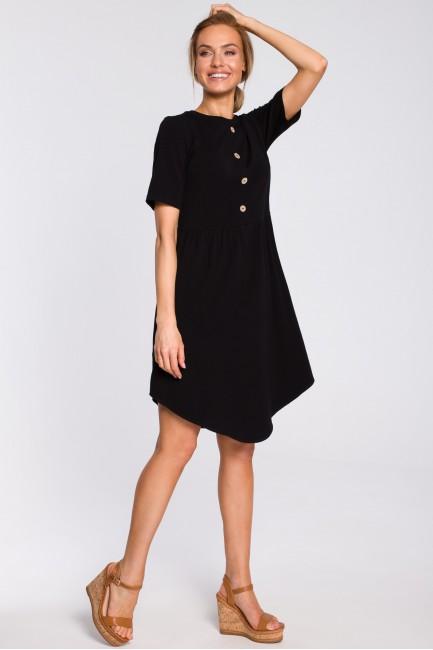 Bawełniana sukienka z guziczkami - czarna