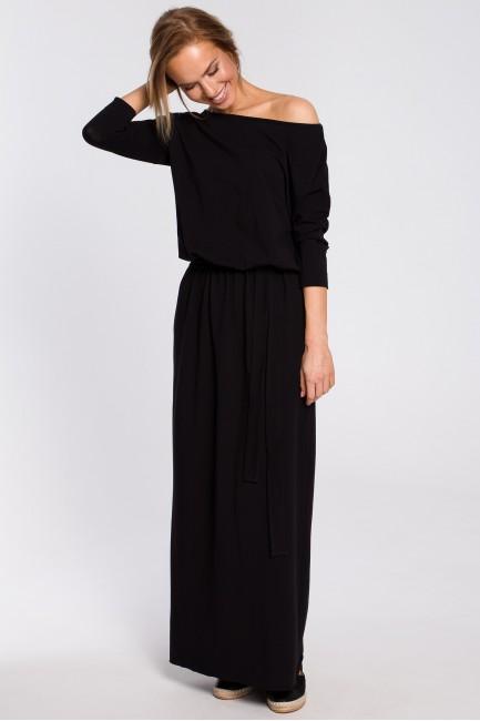 Bawełniana sukienka maxi z paskiem w talii - czarna