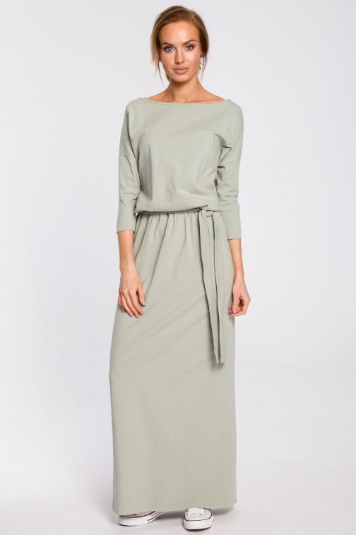 Bawełniana sukienka maxi z paskiem w talii - pistacjowa