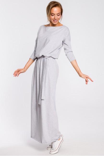 Bawełniana sukienka maxi z paskiem w talii - szara