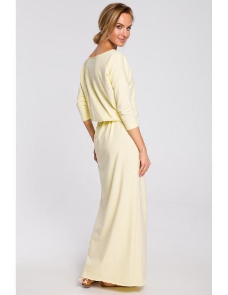 Bawełniana sukienka maxi z paskiem w talii - żółta