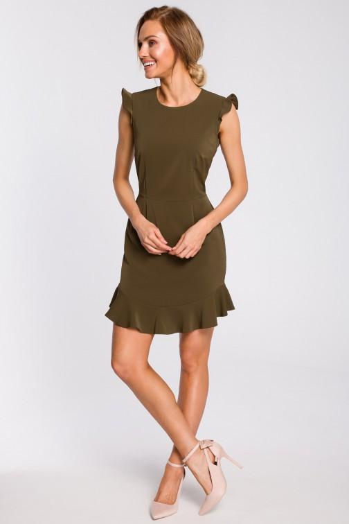 CM4316 Urocza sukienka mini z falbaną - khaki