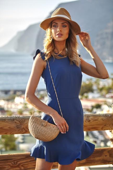 Urocza sukienka mini z falbaną - niebieska