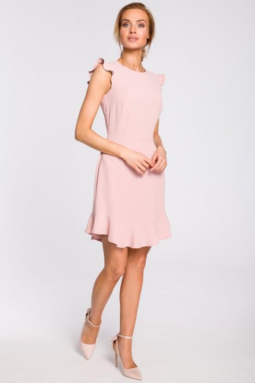 CM4316 Urocza sukienka mini z falbaną - pudrowa
