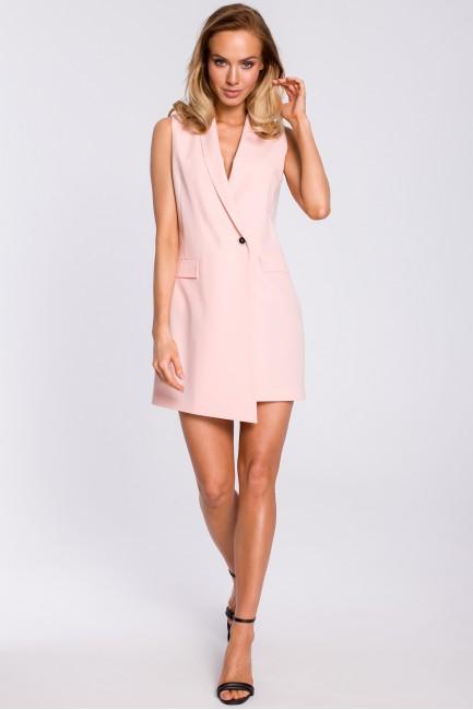 Sukienka żakietowa bez rękawów - pudrowa