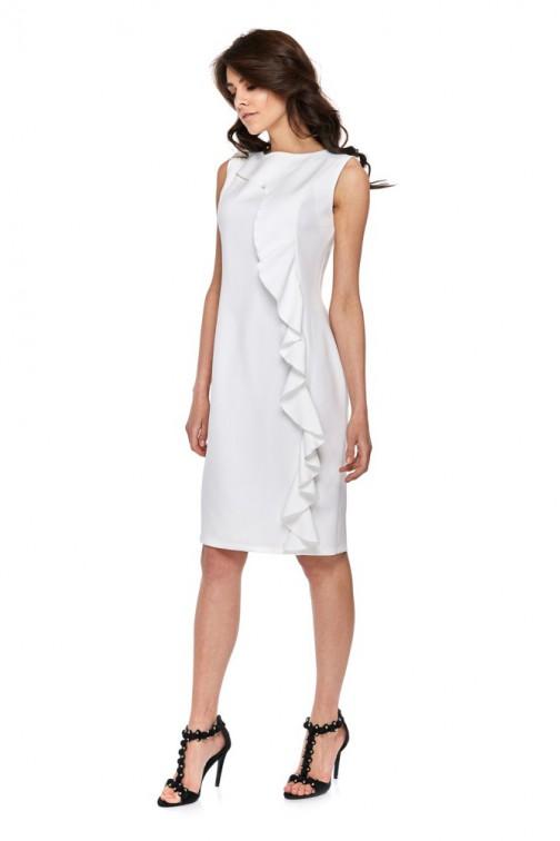 CM4280 Elegancka sukienka z falbaną - biała