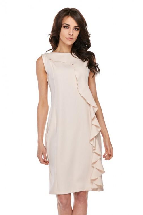CM4280 Elegancka sukienka z falbaną - beżowa