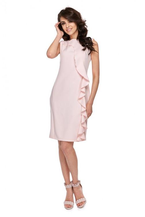 CM4280 Elegancka sukienka z falbaną - różowa