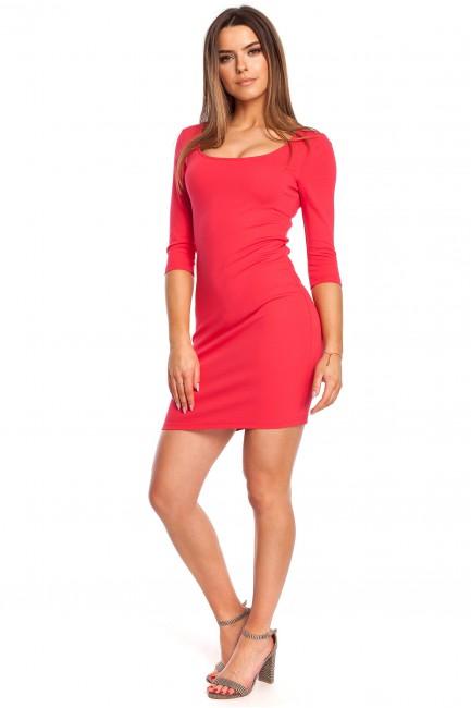 Kobieca sukienka z krótkim rękawkiem - malinowa