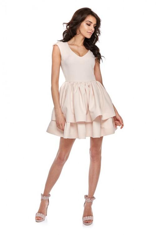 CM4286 Koktajlowa sukienka na ramiączkach - beżowa