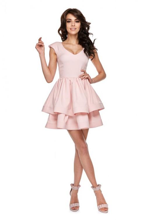 CM4286 Koktajlowa sukienka na ramiączkach - różowa
