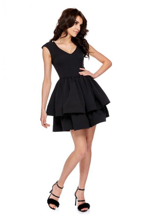 CM4286 Koktajlowa sukienka na ramiączkach - czarna