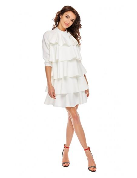Szykowna sukienka w falbany - biała