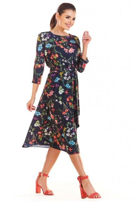 Wiązana sukienka midi - granatowa