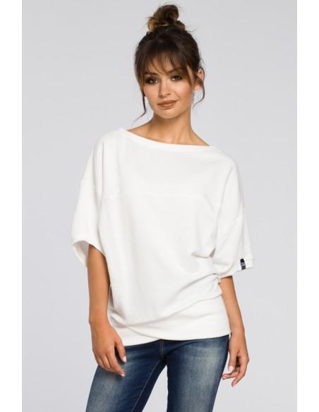 Bluza oversize z rękawami kimono - ecru