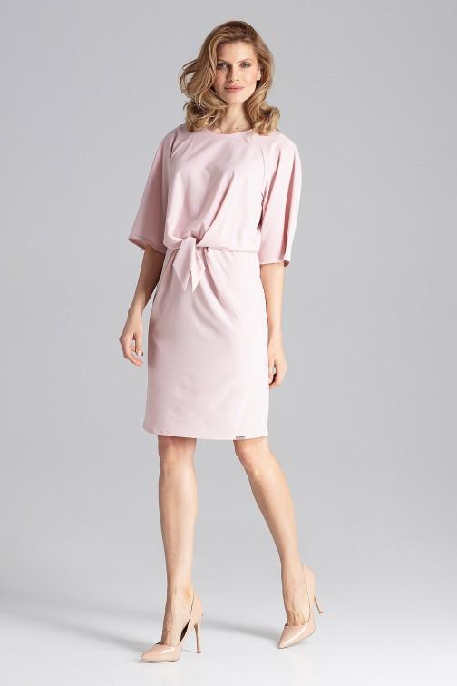 CM4347 Delikatna sukienka z okrągłym dekoltem - różowa