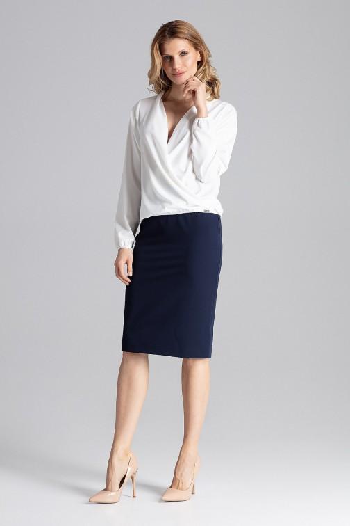 CM4350 Elegancka bluzka z kopertowym dekoltem - ecru