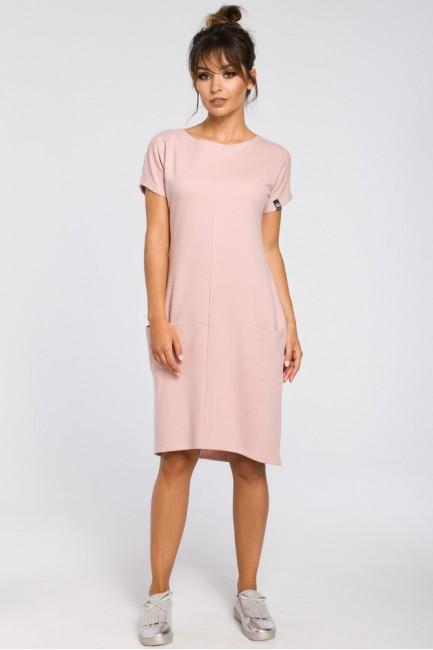 Luźna sukienka midi z kieszeniami - pudrowa